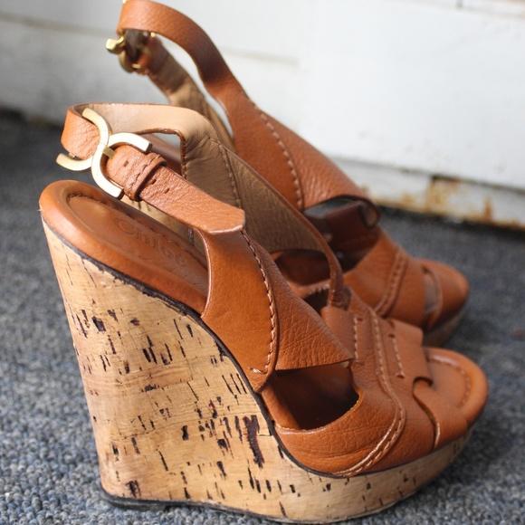 67c0208f382 Chloe Shoes - Chloe Tan Leather High Heel Wedges Summer Heels